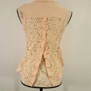 Edge Pink Peach Orange Tank Open Back Crochet Smal